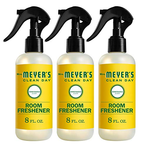 Mrs. Meyer's Clean Day Room and Air Freshener Spray, Non-Aerosol Spray Bottle Infused with Essential Oils, Honeysuckle Scent, 8 fl oz - Pack of 3