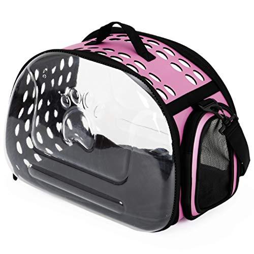 ZH1 huisdier tas transparant bedrukt plastic hoesje kat tas voor uitgaande draagbare kat kooi ruimte huisdier cabine rugzak draagbare rugzak, Blauw, roze huisdier fietsen, S, roze