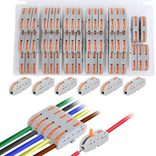 50 Stück compact-Verbindungsklemme ,Kabelverbinder ,2-Leiter-Klemme mit Betätigungshebeln ,Geeignet für eine Vielzahl von weichen und harten Drähten