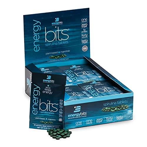 ENERGYbits Pure Spirulina Tablets - Box of 30 Single Servings (7500mg per Serving) - Non-GMO, Non-Irradiated, Blue Green Algae - Keto, Vegan, Superfood