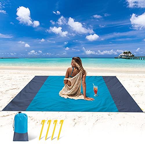 YOGINGO Stranddecke 210 x 200 cm Sandfrei Strandmatte wasserdichte Picknickdecke Faltbare Tragbare Leichte Picknick Decke, Outdoor Decke für Picknicks, Strand, Camping, Wandern und Ausflüge