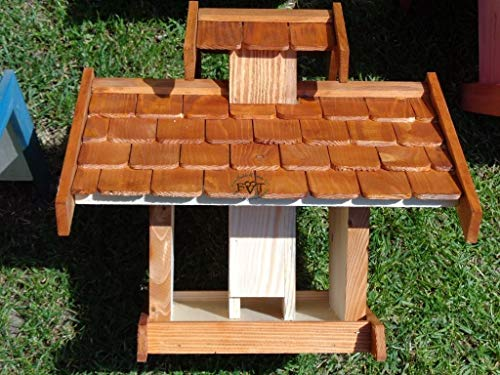 Vogelhaus-futterhaus, BTV-X-VOVIL4-dbraun001 NEU PREMIUM Vogelhaus, Qualität Schreinerware 100% Massivholz – VOGELFUTTERHAUS MIT FUTTERSCHACHT-Futtersilo Futterstation Farbe braun dunkelbraun behandelt / lasiert schokobraun rustikal klassisch, MIT TIEFEM WETTERSCHUTZ-DACH für trockenes Futter - 6