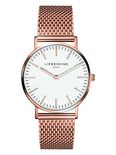 Liebeskind Berlin Damen Analog Quarz Uhr mit Edelstahl, roségold-weiß