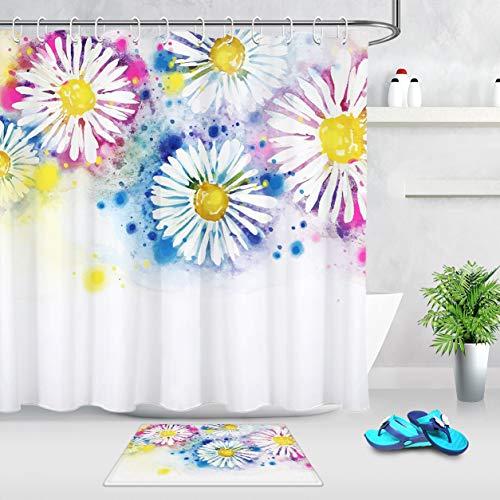 XCBN Cabina de Ducha Impermeable con Estampado de crisantemo de Acuarela con Gancho Muebles de baño decoración de baño A1 200x200cm