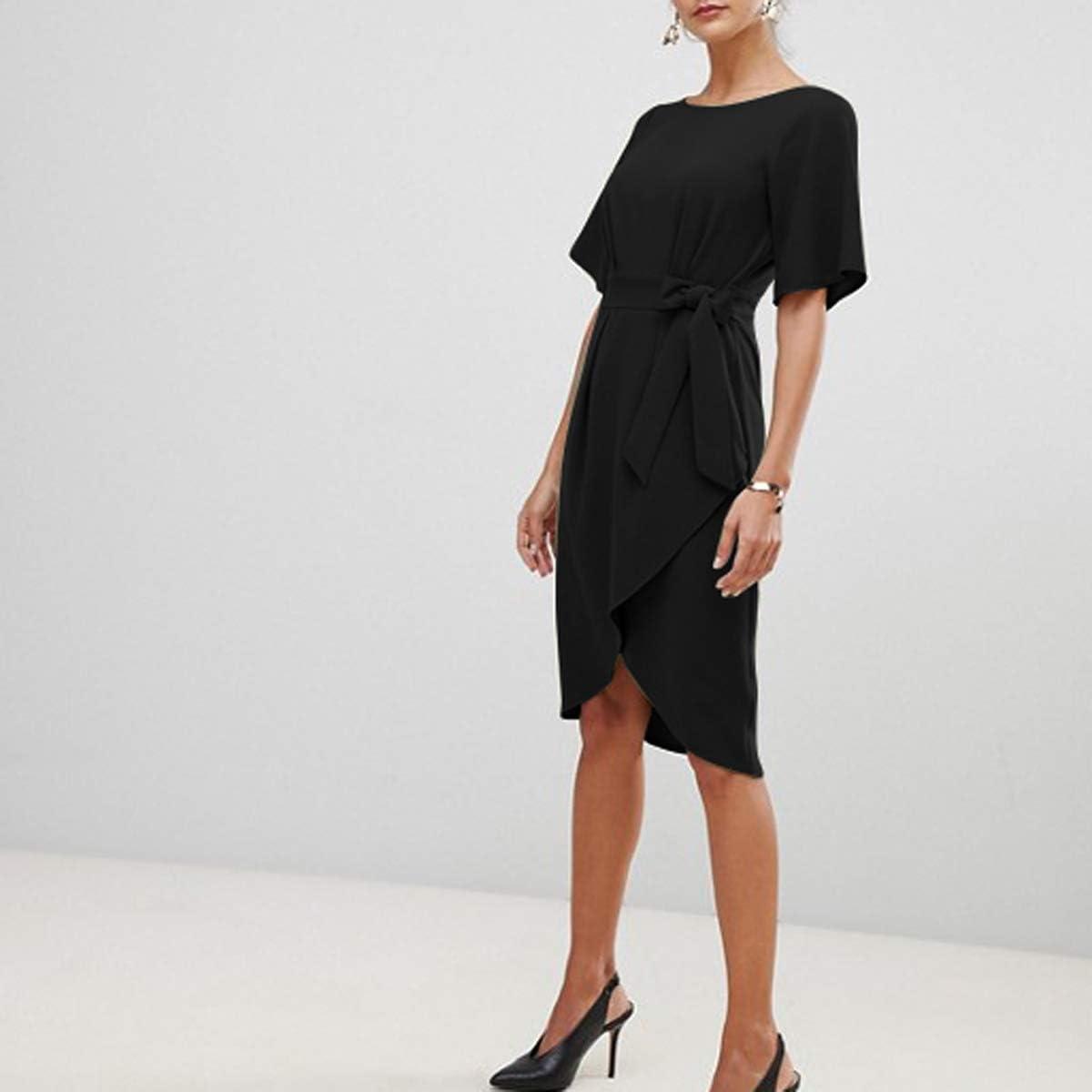 Women Short Sleeve Split Belted Midi Dress Office Business Party Cocktail Dress