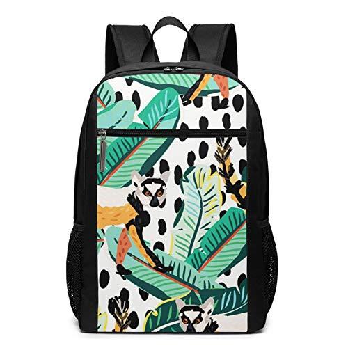 Schulrucksack Grüne Tropische Bananenpalme, Schultaschen Teenager Rucksack Schultasche Schulrucksäcke Backpack für Damen Herren Junge Mädchen 15,6 Zoll Notebook
