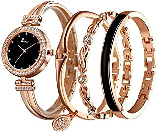 Women Watch by Berunz with Three Bracelets, Stainless steel band, Rose Gold Color