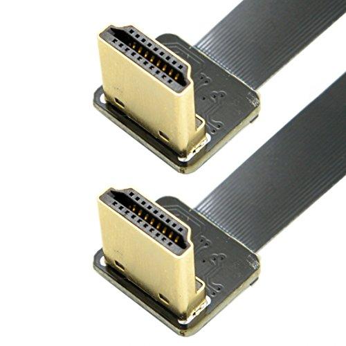 Chenyang CYFPV-Kabel mit zweifachem, um 90Grad abgewinkeltem HDMI-Stecker Typ A auf HDTV-Stecker, flaches FPC-Kabel, 50cm, für FPV-HDTV-Multicopter-Luftaufnahmen