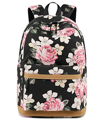 Abshoo Cute Canvas Floral Backpacks for Teen Girls School Bookbags (Floral Black)
