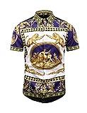 PIZOFF Herren kurz arm Fashion Hip-Hop Tops Barock Hemden mit floral Blumen Luxus Palace Muster
