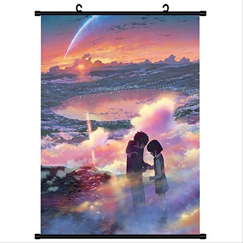 WUJIJILI Anime Japonés Kimi No Na WA Tu Nombre Miyamizu Mitsuha Desplazamiento De La Pared Cartel Mural Cartel Colgante De Pared Decoración para El Hogar Colección Arte 40x60cm N