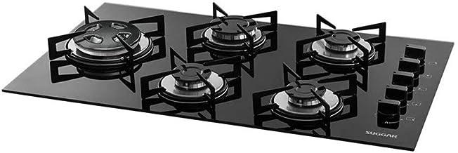 Cook Top à gás Tripla Chama lateral Vidro Temperado 5 bocas preto Suggar