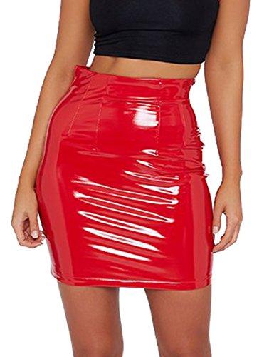 Women's Shiny Liquid Metallic Wet Look Flared Bodycon Pencil Skirts Sexy Short PU Skirts (Red, XS)