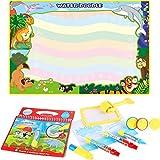 Anpro Doodle - Alfombra mágica de 8 colores - 120 x 90 cm Doodle Mat - Alfombra con dibujo de agua para niños, alfombrilla para garabatos con sellos y rodillo mágico y libro