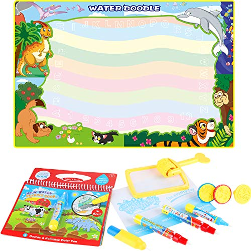 Anpro Doodle Tappeto Magico 8 Colori - 120x90CM Doodle Mat Tappeto Disegno Acqua per Bambini, Tappetino Scarabocchio con Sigilli e Roller Magico e Libretto