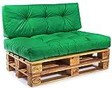 Easysitz Palettenkissen Set Palettensofa Palettenpolster Palettenauflagen Sofa Kissen Polster Auflage Indoor Outdoor Gesteppt für 120 x 80 cm Europaletten (Set 1: Sitzkissen + Rückenkissen - Grün)
