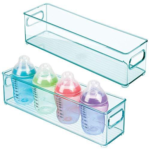 mDesign - Opbergbak - opbergcontainer/organizer - met handvatten/smal - voor luiers, kleding, speelgoed en meer - handig voor keuken, babykamer, slaapkamer, speelkamer - zeeblauw - blauwe tint