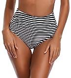 SHEKINI Traje de Baño Mujer Braga Cintura Alta de Impresión Rayas Plisado Bikini Bañador Tallas Grandes (XX-Large, Pantalones-Negro)