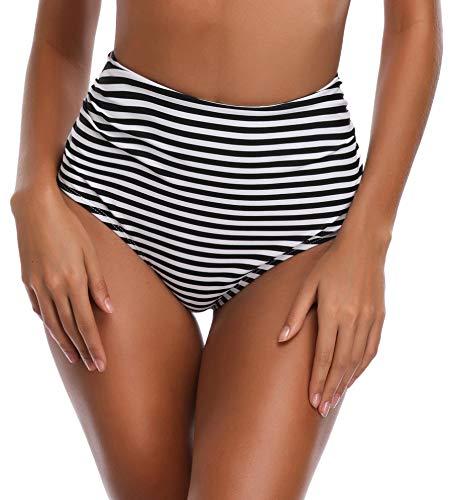 SHEKINI Damen Bikinihose High Waist Hose-Schwarz Streifen Bauchweg Badehose Gerafftes Unterteil Mädchen Rüschen Hohe Taile Grosse Grössen Hose Frauen (Hose-Schwarz, X-Large)
