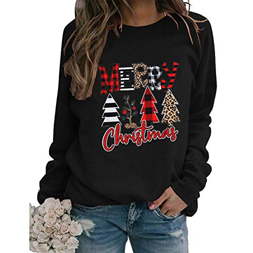 Vintage Merry Christmas Leopard Plaid Xmas Tree Sweatshirt for Women Cute Plaid Xmas Tree Graphic Causal Pullover Top (L, Black)