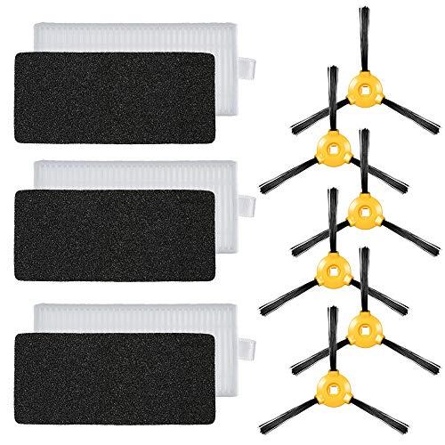 Kit de acessórios de reposição Decdeal com 9 unidades para aspirador robótico Ecovacs Deebot N79 N79S - 3 filtros HEPA + 6 escovas laterais