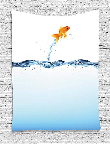 daawqee Aquarium Tapestry Little Goldfish Leaping Out of Water Bravery Challenge Freedom Theme for Living Room Bedroom Dorm 60 W X 80 L Inches Unique Home Decor