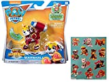 Paw Patrol Mighty Pups Super Paws Marshall Figure with One 12 Stickers Sheet Bundle (2 Items)
