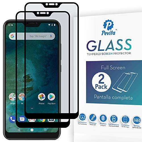 Pevita Panzerglas Kompatibel mit Xiaomi Mi A2 Lite [2 Stücke] Full Screen. Härtegrad 9H, Ohne Blasen, Einfache Installation. Schutzfolie und Premium Displayschutz Kompatibel mit Xiaomi Mi A2 Lite