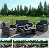 <span class='highlight'><span class='highlight'>Abreo</span></span> Grey 4 Seater Garden Rattan Furniture Sofa Armchair Set with Coffee Table Wicker Weave Conservatory (Dark Mix Grey with Dark Cushions)
