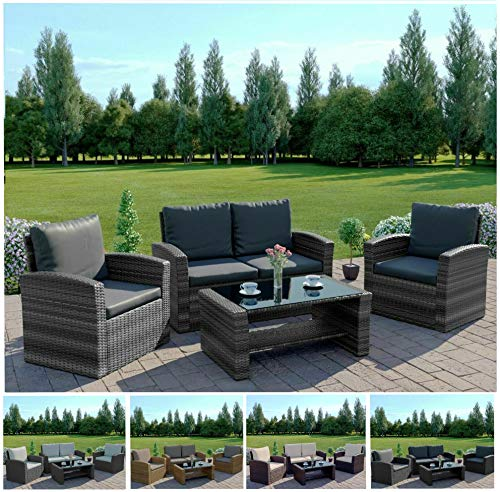 Abreo Grey 4 Seater Garden Rattan Furniture Sofa Armchair Set with Coffee Table Wicker Weave Conservatory (Dark Mix Grey with Dark Cushions)