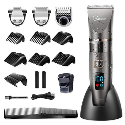 Hatteker Beard Trimmer Hair Clipper Professional Cordless Clippers Hair Trimmer Shaver Detail Trimmer Hair Cutting Kit for Men Waterproof