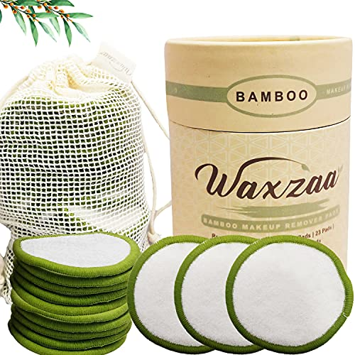 Waxzaa Reusable Makeup Remover Pads 23 Pack 100% Organic Cotton Pads with washable Laundry Bag &...