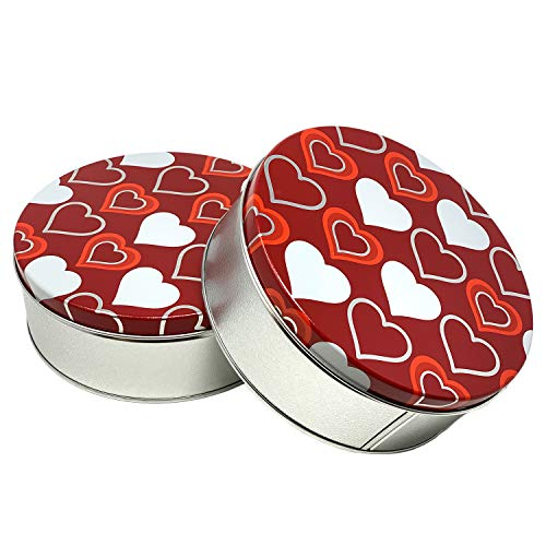 Premium Cookie Tins with Lids  Red Pink White Love and Heart Design Valentine's Day Theme  Empty Candy Container 2 Pack