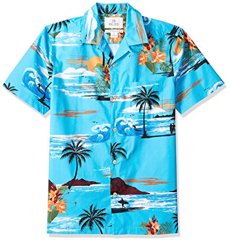 Marca Amazon - 28 Palms – Camiseta para hombre (100 % algodón, corte estándar), diseño hawaiano tropical, Azul (Ocean Blue Surf Scenic), US S (EU S)