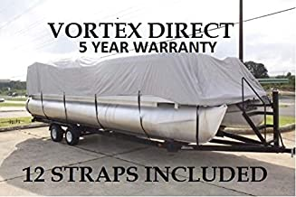 Vortex New Grey 24 FT Ultra 5 Year Canvas Pontoon/Deck Boat Cover, Elastic, Strap System, FITS 22'1