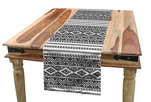 ABAKUHAUS Bieżnik na stół etniczny, orientalny marokański statyk, prostokątny bieżnik dekoracyjny do jadalni, kuchni, 40 x 180 cm, biały i czarny