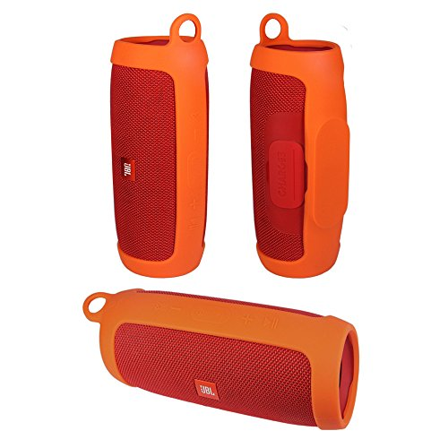Durable Silicone Cover Carrying Case Pouch Sleeve for JBL Charge 3 Charge3 Speaker Extra Carabiner Offered (Sling Orange)
