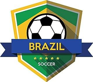 Brazil Flag National Soccer Team Badge Home Decal Vinyl Sticker 13'' X 12''