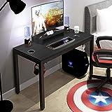 DlandHome Escritorio para computadora de Juegos, Mesa de Juego/estación de Trabajo de 120 * 60 cm con Soporte para Monitor, Negro & Negro