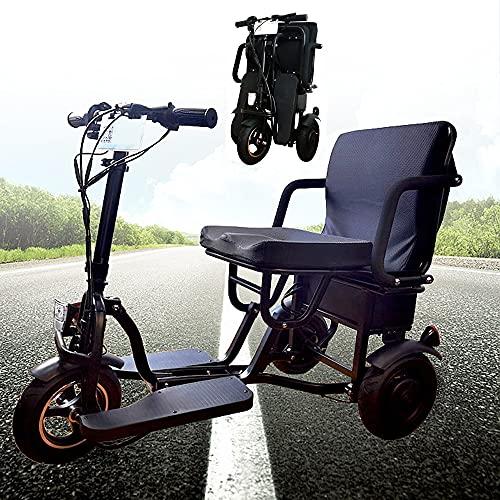 YYMM Scooter de Movilidad eléctrica Plegable, Movilidad de Scooter de 3 Ruedas - Dispositivo de Silla de Ruedas móvil eléctrico eléctrico Anciano/deshabilitado/Viajes al Aire Libre Scooter eléctrico