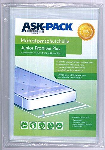 ASK Pack Premium Matratzenschutzhülle Junior für bis zu 90cm breite / 25cm hohe / 220cm Lange Matratze - mit vielfach wiederverwendbarem KLEBEVERSCHLUSS - EXTRA stark 100µ
