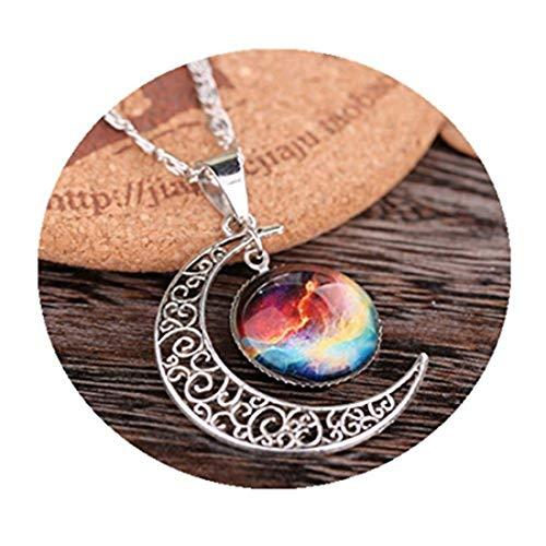 Youkeshan Collar de galaxia luna, collar de luna creciente, collar de galaxia