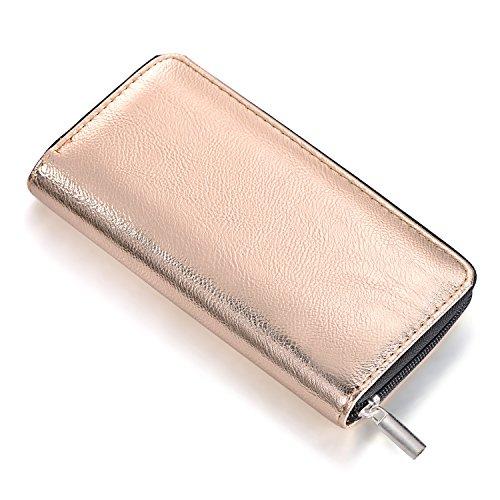 DonDon Cartera portamonedas para Mujer Blanda, con Aspecto Metalizado Cierre de Cremallera en Dorado Rosa 20 x 10 x 2,5 cm