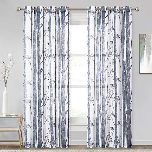 KGORGE Linen Textured Sheer Curtains - Farmhouse Semi-Sheer Watercolor Botanical Panels Privacy Protection Grommet Decoration for Living Room Nursery, 2 Pcs, 50' W x 84' L