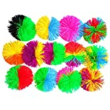 TOYMYTOY 6cm Colorful Silicone Koosh Ball Bouncing Fluffy Jugging Ball Sensory Stress Relief Toy 6pcs (Random Color)