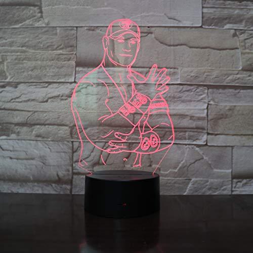 jiushixw 3D acryl nachtlampje met afstandsbediening kleur tafellamp baseball-speler kinderen creatief cadeau tafellamp accessoires