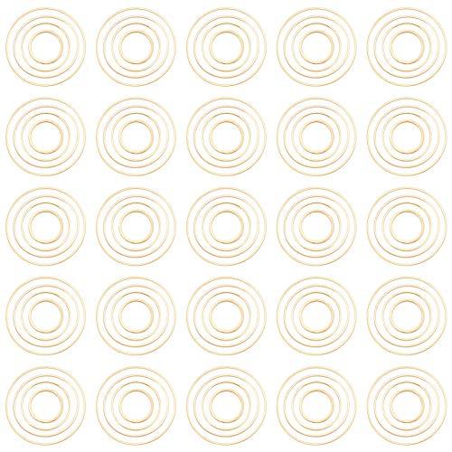SUNNYCLUE 4サイズ120個 レジン フレーム チャーム 丸 フレームパーツ セット 空枠 ピアス レジン 枠 チャーム イヤリング パーツ 円型 ゴールド色 真鍮 ブラス UVレジン レジン封入 ブレスレット ネックレス レディース ジュエリー