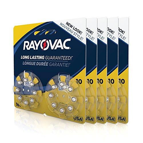 Rayovac Mercury Free Hearing Aid Batteries, Size 10, 80-Pack (L10ZA-80ZM)