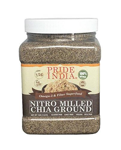 El orgullo de la India harina de harina de semilla de chía negro de primera calidad y omega3 fibra estupenda tierra fría, 2 libras (32 onzas)