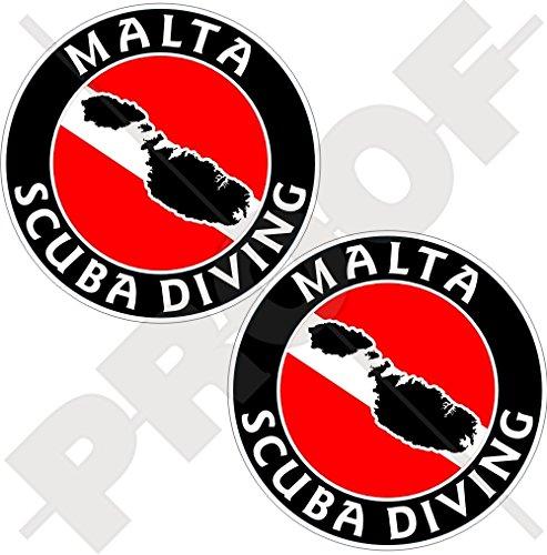 Malte Plongée Drapeau de plongée Maltaise Forme de carte de 75 mm Autocollants circulaires en vinyle pour pare-chocs